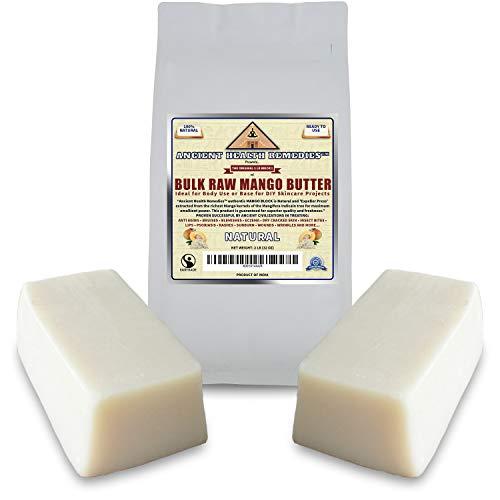 Organic Unrefined Raw MANGO BUTTER 2 LB (32 oz) BLOCKS Best Price Highest Quality Bulk, Light Mango Aroma, Non-Greasy Base for Beauty, Skin Moisturizing, DIY Base for Body Butter & -