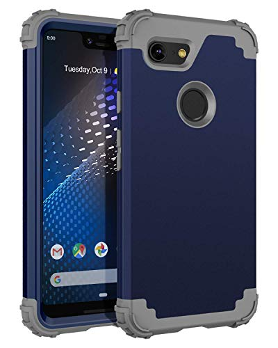 BENTOBEN Google Pixel 3 XL Case (2018), 3 in 1 Heavy Duty Full Body Protective Hybrid Hard PC Soft Rubber Rugged Bumper Shockproof Anti Slip Durable Sturdy Phone Cover for Google Pixel 3XL, Navy Blue