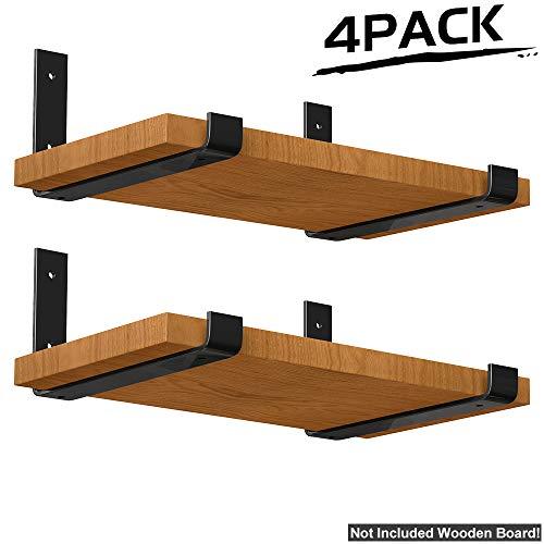 (LuckIn Lip Shelf Wall Brackets 11.25 in x 6 in, Heavy Duty Metal Steel Decorative Bracket, Shelves Storage Angle Corner Brackets for Study Bedroom Kitchen, 4 Pack)