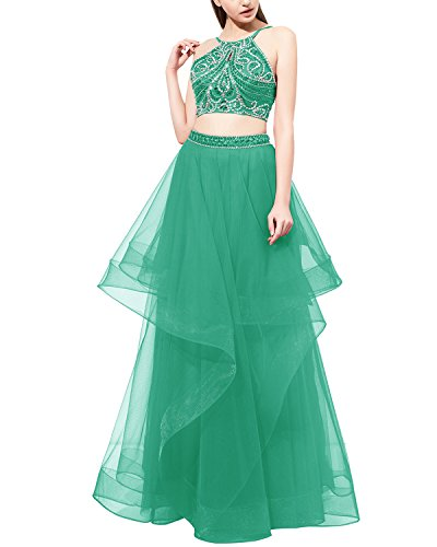 Dress Piece Dress Prom Tulle Beaded Party Dress Two Long Evening Green Bridesmay xq6HwpO1n
