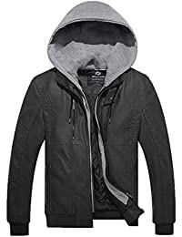 Wantdo Men's Faux Leather Jacket PU Outwear with Removable Hood