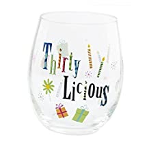 30th Birthday Stemless Wine Glass Thirty-licious by Ganz