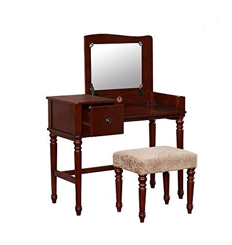 Linon 580052WAL01 Aila Vanity Set, Walnut ()