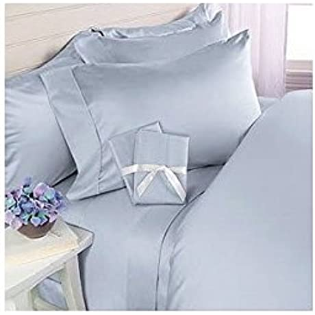 600 Thread Count California King Siberian Goose Down Alternative Comforter 600FP 50oz With 100 Egyptian Cotton Plain Solid Damask Cover Blue Set Includes Bed Duvet Cover Sheet With TWO Shams Pillowcases Made Of 600 Thread Count 100 Long Staple Egyptian Giza Cotton With Swiss Sateen Finishing