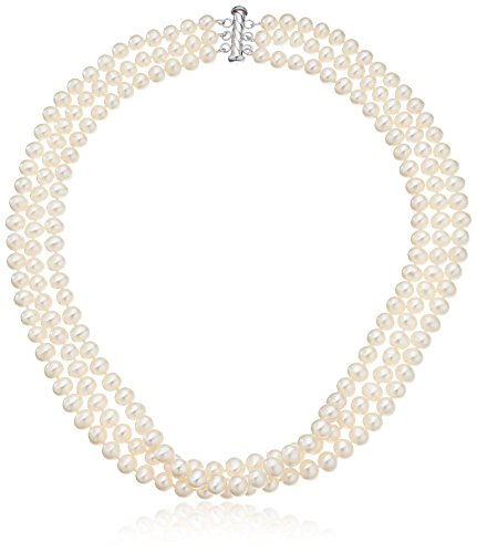 Sterling Silver 3-Row White Freshwater Cultured A Quality Pearl Necklace (6.5-7mm )