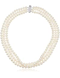 Sterling Silver 3-Row White Freshwater Cultured A Quality Pearl Necklace (6.5-7mm)