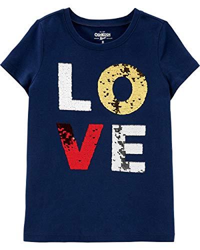 Osh Kosh Girls' Little Sequin Short-Sleeve T-Shirt, Love, 6-6X ()