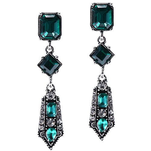 (BABEYOND 1920s Flapper Art Deco Gatsby Earrings 20s Flapper Gatsby Accessories (Green))