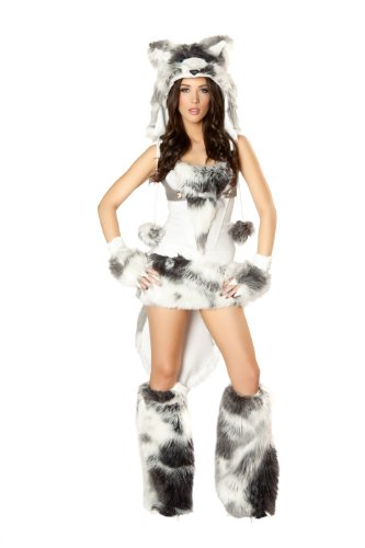 J Valentine Husky Costume - J. Valentine Women's Husky Costume Faux Fur Trim Lace-Up Corset with Boning and Side Zipper Harness Leash and Faux Fur Trimmed Skirt with Tail, White/Grey, X-Large