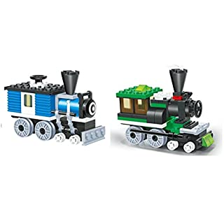 LITTLE BUILDER - Mini Train Blocks 2 Individual Building Brick Playsets with 127 pc Toy Bricks Included - 2 Separate Compatible Bricks sets