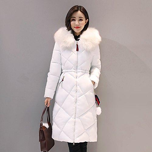 Thickened Zipper length Jacket Hat Medium DYF L White sleeve Down Coat Long Pocket Avqnp6wx