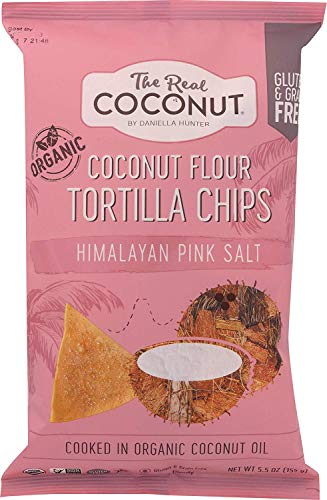 The Real Coconut Gluten Free Coconut Flour Tortilla Chips 5.5oz (Himalayan Pink Salt)
