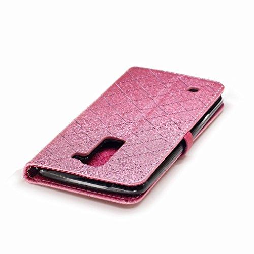 Yiizy LG K8 / LG Phoenix 2 / K350N Custodia Cover, Amare Design Sottile Flip Portafoglio PU Pelle Cuoio Copertura Shell Case Slot Schede Cavalletto Stile Libro Bumper Protettivo Borsa (Rosa)
