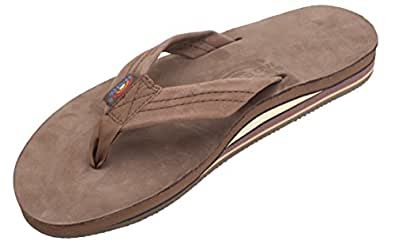 Rainbow Sandals Women's Premier Leather Double Layer Wide Strap, Expresso, Small (5.5-6.5)