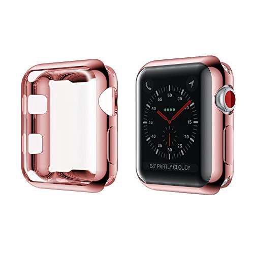 Toosunny for Apple Watch 3 Case Soft Plated TPU Screen Protector All-Around Protective Case High Defination Clear Ultra-Thin Cover for Apple iwatch 42mm Series 3 Series 2 Series 1 (Rose Gold, 42mm)