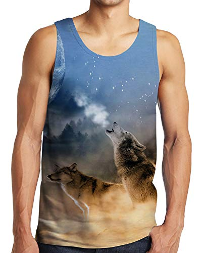 Men's 3D Digital Cool Howling Wolf All Over Print Tank Tops Tee L