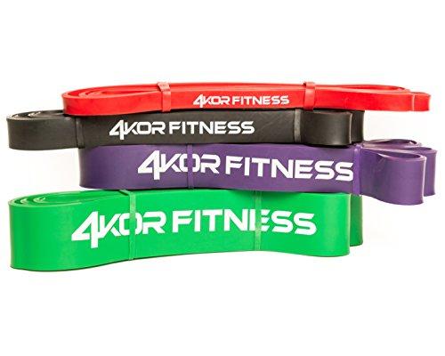 """4 Resistance Band Set of 4KOR Fitness 41"""" Warrior Bands"""