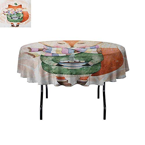 Douglas Hill Watercolor Printed Tablecloth Cute Little Fox Wants to Drink Coffee with Its Bird Friend Desktop Protection pad D59 Inch Pale Pink Jade Green Orange