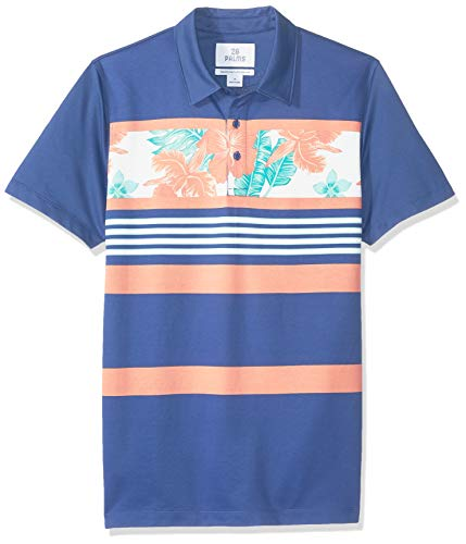 - 28 Palms Men's Relaxed-Fit Performance Cotton Tropical Print Pique Golf Polo Shirt, Navy/Coral Vintage Floral Stripe, X-Large