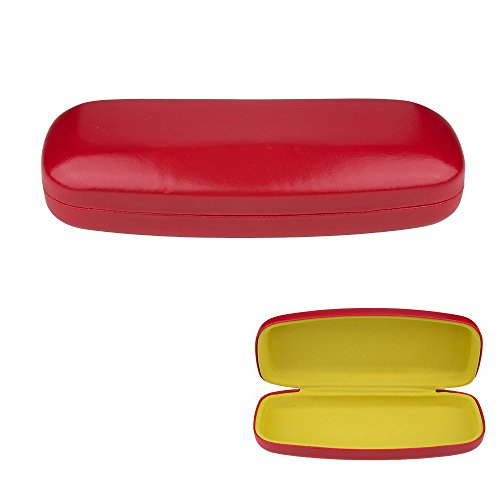 Glasses Case, Hard Shell Protects & Stores Sunglasses, Reading Eyeglasses and Most Eyewear, Suitable for Men, Women & Kids, -Red- By - Eyeglasses Durable