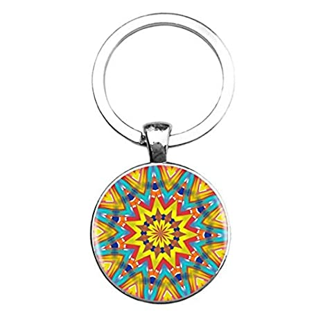 Indian Mandala Keychain for Women Purse Charm Key Ring Fob