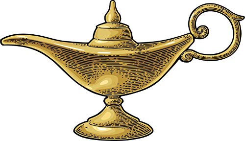 """Morgan Graphics Cool Vintage Traditional Golden Magic Lamp Cartoon Icon (4"""" Wide) Truck Car Bumper Sticker Decal Wall Laptop"""