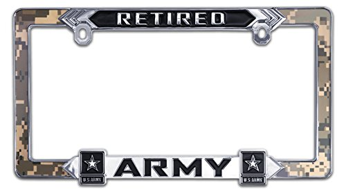 Elektroplate Retired Army Camouflage 3D License Plate Frame - License Army Retired Plate