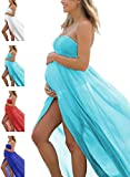 Women's Off Shoulder Strapless Maternity Dress for Photography Split Front Chiffon Gown for Photoshoot