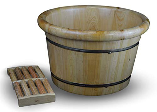 Solid Cedar Wood Foot Basin Tub Bucket for Foot Bath, Massage, Spa, Sauna, Soak, 16