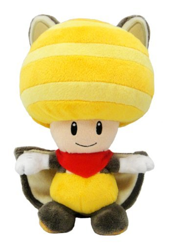 Super Mario Plush Series Plush Doll: 8-Inch Squirrel / Musasabi Yellow Toad / Kinopio ()