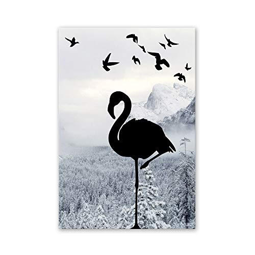 ZUEN Simple Nordic Mural HD Inkjet Bird Pattern Decorative Painting for Living Room, Bedroom, Hotel, Office,50x75cm ()