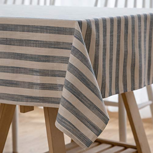 Aquazolax Linen Cotton Rectangular Tablecloth Stripe Table Covers Events Home Décor for Parties Wedding and Gatherings, 54