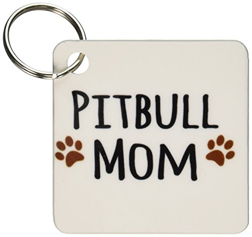 (3dRose Pitbull Dog Mom - Doggie by breed - muddy brown paw prints - doggy lover - Key Chains, 2.25 x 2.25 inches, set of 2 (kc_154172_1))