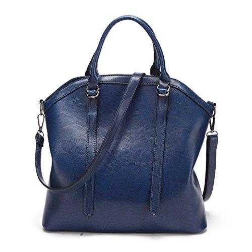 bandoulière tout mode Vintage à et en nouveau sac mode Bleu capacité Sacs sac cuir sac Satchel BZLine à fourre épaule main élégant femmes grande 7wTxq5E