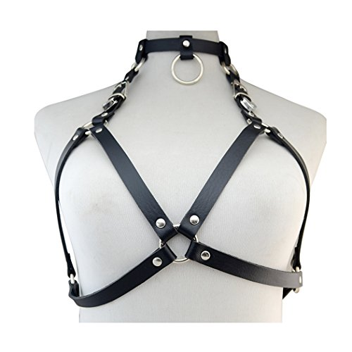 Punk Style Black PU Leather Sexy Bondage Straps Bra Body Harness Queen Lingerie Belt Body Chain (Leather Chain Bra)