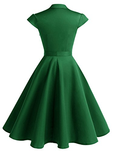 Audrey de Ceinture ur Une annes Wedtrend Longue Robe Rtro des Boucles Vintage c Elgante Vert Robe Arm Rocabilly 50 Hepburn avec Z7xn7f