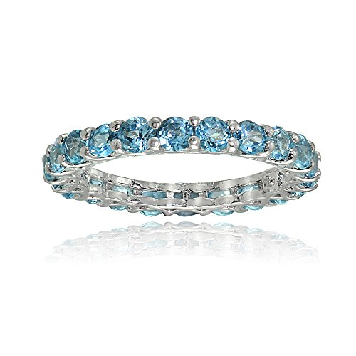 (Ice Gems Sterling Silver Swiss Blue Topaz 3mm Round-Cut Eternity Band Ring, Size 7)