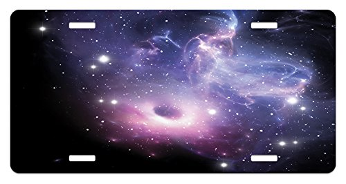 Lunarable Outer Space License Plate, Black Hole in The Nebula Gas Cloud in Outer Space Universe Astro Solar System, High Gloss Aluminum Novelty Plate, 5.88