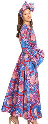 Vestito Donna Da 119 A Ankara Africana Lunghe Maniche blueredmulti Tale E Con Stampa Tasche Sakkas fwx5SqU0S