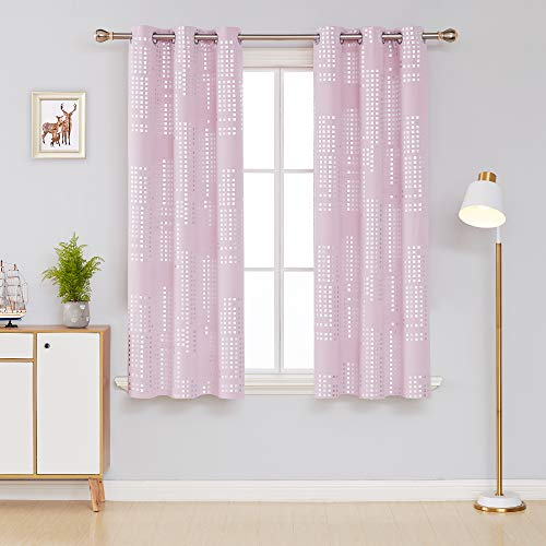 Deconovo Decorative Silver Print Curtains for Kids Bedroom Room Darkening Draperies Grommet Window Treatment Panels for Nursery, 38x63 Inch, Light Pink