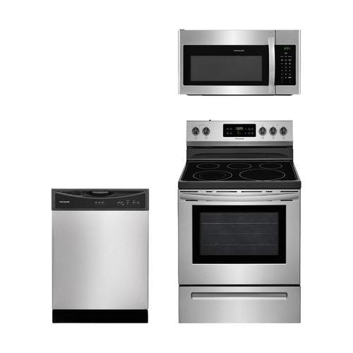 Frigidaire 3-Piece Stainless Steel Kitchen Package with FFEF3054TS 30″ Freestanding Electric Range, FFMV1645TS 30″ Over-the-Range Microwave and FFBD2406NS 24″ Full Console Dishwasher