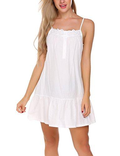 Ekouaer 100% Cotton Nightgown Sleeveless Victorian Sleepwear For Women