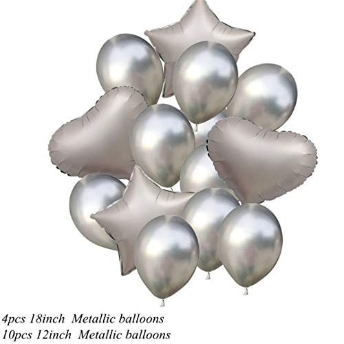 1 Set 12/18Inch Metallic Confetti Balloons Happy Birthday Party Helium Balloon Decorations Wedding Festival Balon Party Supplies Silver -