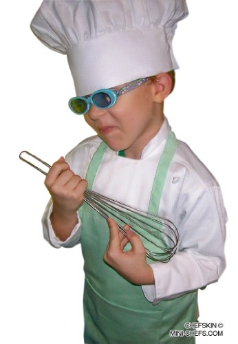 Veste Costumes (CHEFSKIN COSTUME SET Kids Children Chef Jacket + Apron +Hat Set EXCELLENT FOR SCHOOL, HALLOWEEN, PLAYS OR BIRTHDAY PARTY FAVOR (write down jacket size and apron color in GIFT MESSAGE))