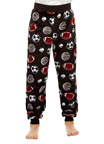 - Boys Pajama Bottoms | Cozy Flannel Fleece Sport Jogger Style PJ Pants - L