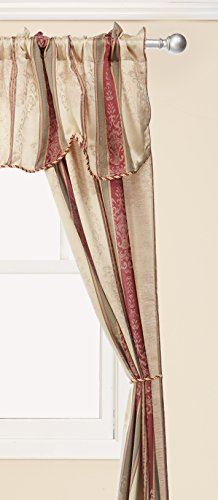 Window Accents 5-Piece Tuscan Scroll Stripe Jacquard Rod Pocket Set, 56 by 84-Inch, Autumn