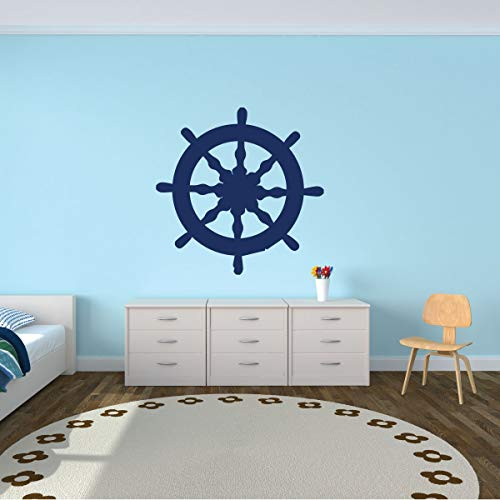 (Wooden Ship Wheel Wall Decal - Personalized Steering Wheel for Sailboat - Wall Decals for kids - Bedroom, Play Room or Beach House.)