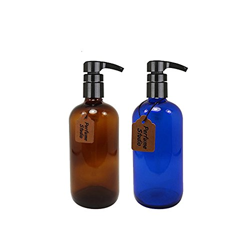 Perfume Studio 16oz Glass Pump Set: Professional Amber/Blue Cobalt Glass Pumps