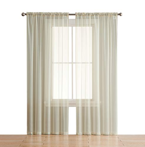 HLC.ME Beige Sheer Voile Window Treatment Rod Pocket Curtain Panels for Bedroom (54