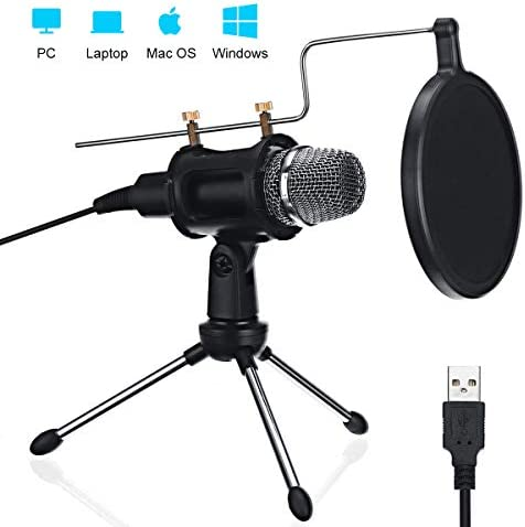 NASUM USB Microphone Computer Microphone Condenser Microphone Dual-Layer Acoustic FilterProfessional Sound Chipset for YouTube Facebook Skype Google Search Podcasting Games (USB)
